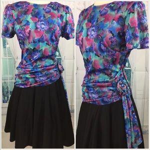 👗80's Floral Dress Formal or Career M L 8 10