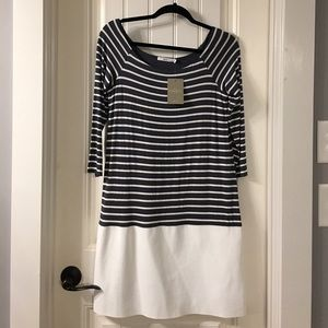 NWT Bailey44 Anthropologie Leather lk Trim Stripes