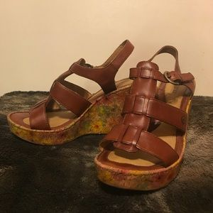 Born Floral Cork Wedge Heels Size 10!