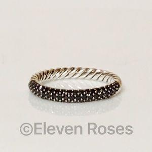 David Yurman Petite Pave Black Diamond Ring
