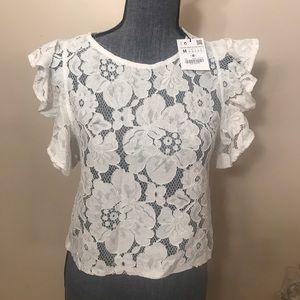NWT Zara white lace blouse