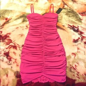 New Guess dress pink slip lace size xs