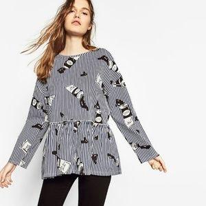 ZARA Frilled Hem Contact Print Plus Size Shirt