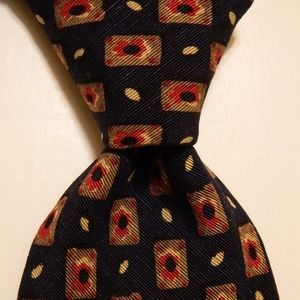 BROOKS BROTHERS Silk Necktie Geometric Blue/Tan