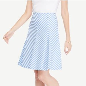 NWT Blue & White Striped Poplin Flare Skirt