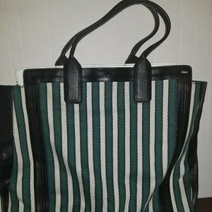 Chloe Woman's green and white striped tote