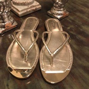 Shoes - Guess Metallic Gold Flip Flops