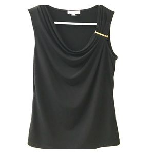 Calvin Klein sleeveless cowl neck top with decor