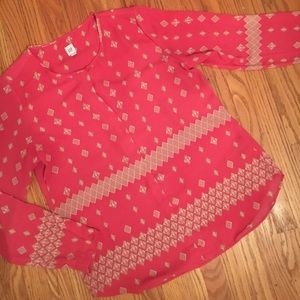 pink & tan gap blouse
