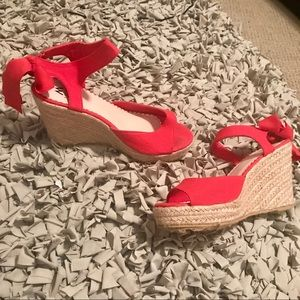 Shoes - Pink Tie Wedges