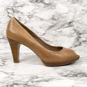 Ecco vegan leather peep toe pumps