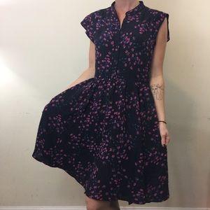 Madewell Black Silk Floral Printed Dress