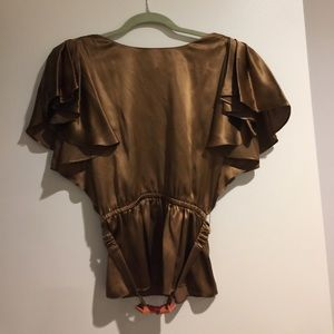 See by Chloe silk bronze flutter sleeve blouse