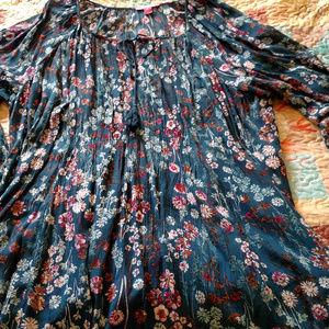 BOHO Long Sleeved Voile Blouse - Size 2X