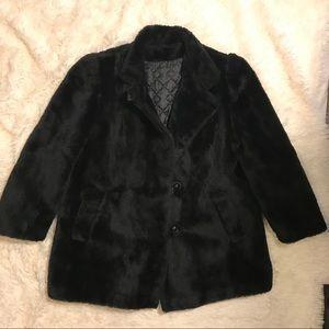 VINTAGE: Black Fur Coat