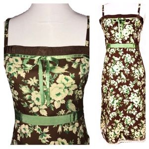 Anthro Ipsa Bird and Floral Brown Green Maxi Dress