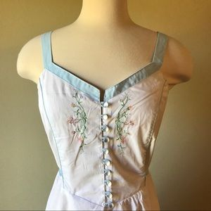 Vintage White Embroidered Prairie Midi Dress