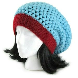 Accessories - Colorblock Crochet Slouchy Beanie Hat