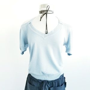 Nina Ricci Blue Knit Gold Shoulder Top