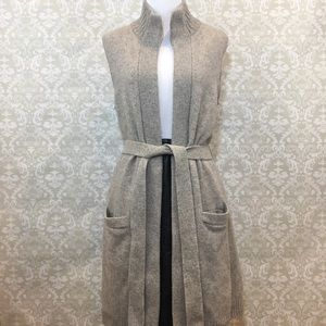 Ralph Lauren Gray Belted Wool Cashmere Cardigan