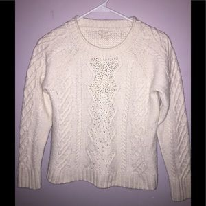 J Crew Winter White Beaded Cable Knit Sweater M