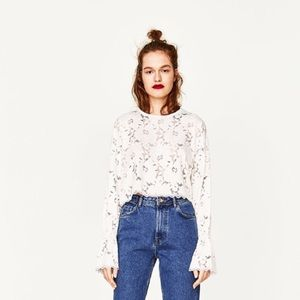 Zara cropped white lace trumpet sleeves