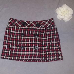 Express Red White Plaid Wool Blend Mini Skirt