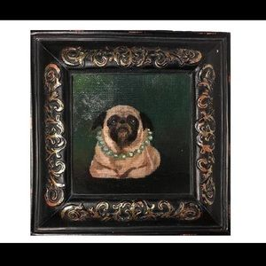 Pug portrait painting mops pearls pet dog framed