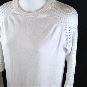 BANANA REPUBLIC FACTORY White 3/4 Sleeve Sweater