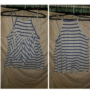 Charlotte russe xl blue and white stripe tank