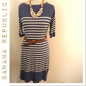 Banana Republic periwinkle and cream stripe dress