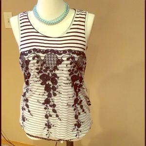 Navy and white striped  tank top,