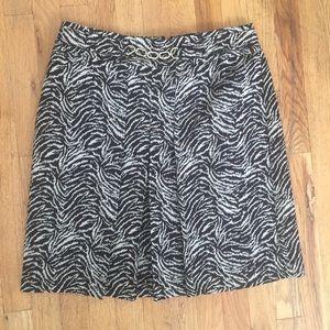 Ann Taylor Animal Print Pleated Pencil Skirt
