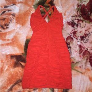 New bebe mesh red orange dress size small