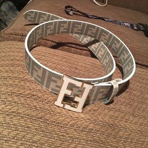 White & grey Fendi belt