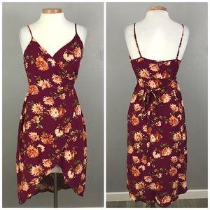 Forever 21 Burgundy Floral Wrap Tank Hi Lo Dress