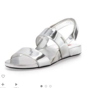 Loved Prada metallic Leather double strap sandals