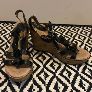 Black Born Cork Wedges with Flower Strap