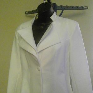 White Blazer Ruffles High Low Casual Suit Jacket