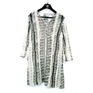 CAbi Black White Lace Up Tunic