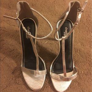 Silver t-strap heels
