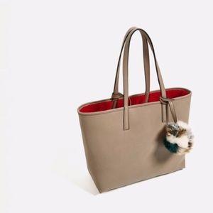 NWT ZARA Reversible Taupe Tote Bag
