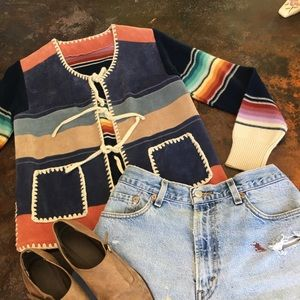 Vintage southwest suede & knit cardigan sweater