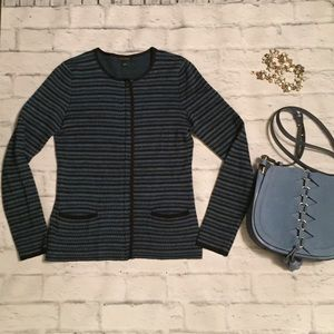 Ann Taylor Blue and Black Sweater Jacket