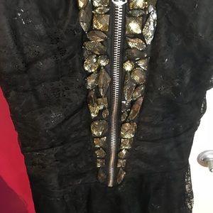 Black Bebe dress /gems/lace