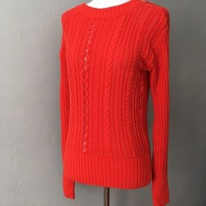 J Crew Red Zip-Cable Knit Sweater