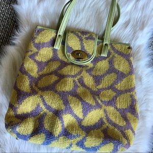 vintage 60s vinyl & woven tapestry tote