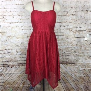 Red lace high / low Dress