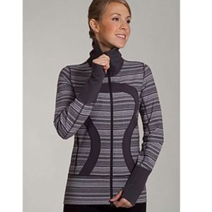 Lululemon Stride Jacket Coal Grey Striped