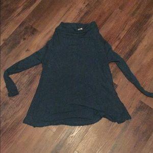 Free People teal slit back sweater (S)